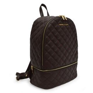 Adrienne Vittadini Pebble Grain Quilted Large Backpack-Brown