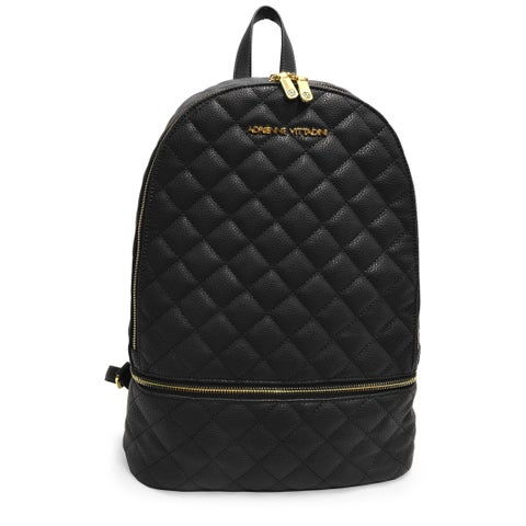 Adrienne Vittadini Pebble Grain Quilted Large Backpack-Black
