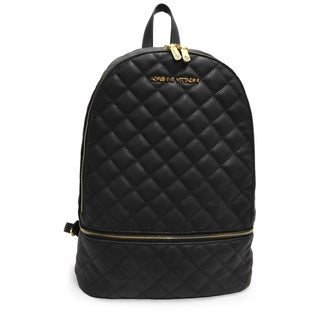 Adrienne Vittadini Pebble Grain Quilted Large Backpack-Black