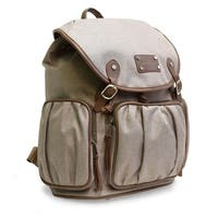 Adrienne Vittadini Two-Tone Nylon Collection Backpack-Natural