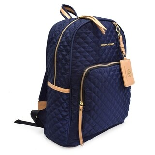 Adrienne Vittadini Quilted Backpack with 13 Inch Padded Laptop Sleeve-Navy
