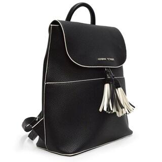Adrienne Vittadini Pebble Grain Backpack With Fashion Tassel-Black