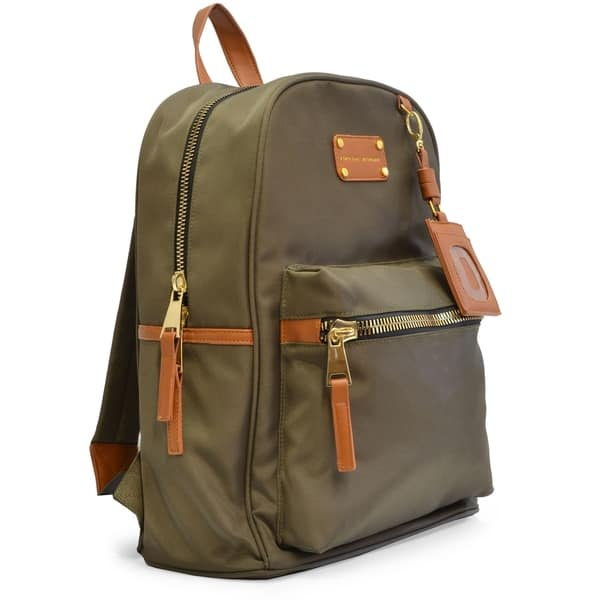 4cff63e1ee Adrienne Vittadini Nylon Backpack with 13 Inch Padded Laptop Sleeve-Olive  Green ...