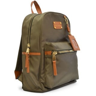Adrienne Vittadini Nylon Backpack with 13-inch Padded Laptop Sleeve - Olive Green