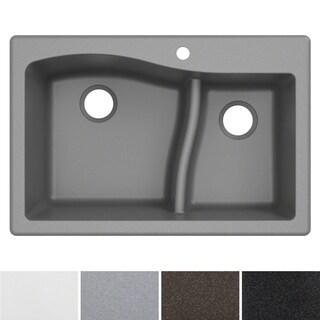 "KRAUS Quarza 33"" Dual Mount 60/40 Double Bowl Granite Kitchen Sink (Option: Grey)"