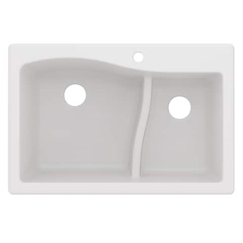 KRAUS Quarza Granite 33 inch 60/40 Undermount Drop-in Kitchen Sink