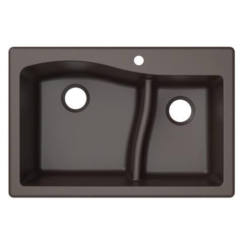KRAUS Quarza Granite 33 inch 60/40 Undermount Drop-in Kitchen Sink