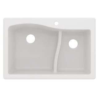 Kraus KGD-442 Quarza 33-inch Undermount Drop-in Dual Mount 60/40 Double Bowl Granite Kitchen Sink