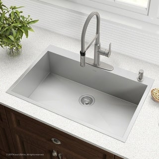 Kraus KP1TS33S-4 Pax 25 inch Drop-in Stainless Steel Kitchen Sink