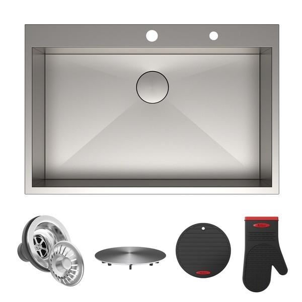 Kraus Pax Zero Radius 33 Inch Topmount Single Bowl Stainless Steel Kitchen Sink
