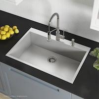 Kraus KP1TS33S-2 Pax Zero-Radius Drop-in 33-inch 16 gauge Single Bowl Satin Stainless Steel Kitchen Sink with 2 Holes