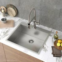 "KRAUS Pax Zero-Radius 25"" Single Bowl Stainless Steel Drop-In Kitchen Sink with 1 Pre-Drilled Hole"