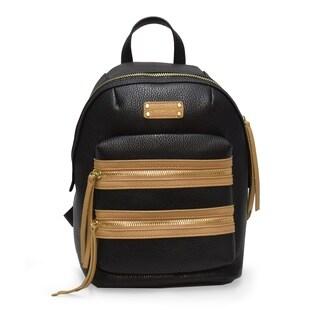 Adrienne Vittadini Pebbel Grain Double Front Zip Backpack-Black