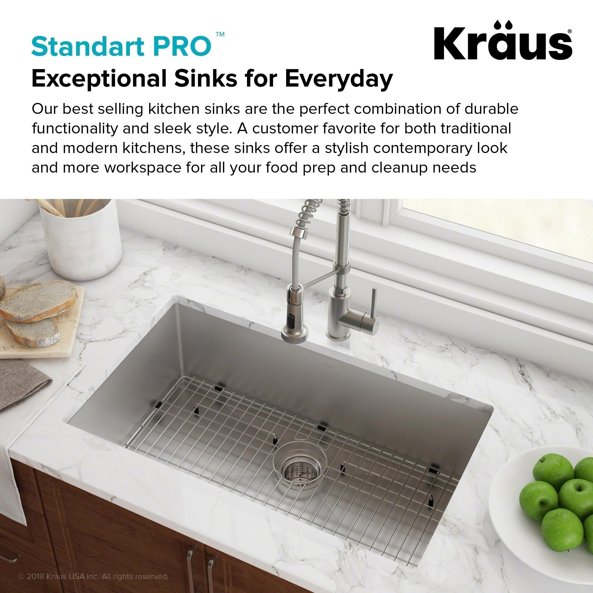 Kraus KHU100-26 Undermount 26 inch 1-Bowl Stainless Steel Kitchen Sink