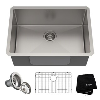 Kraus KHU100-26 Undermount 26-in 16G 1-Bowl Satin Stainless Steel Kitchen Sink, Grid, Strainer, Towel