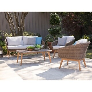 Harper Blvd Allerton Natural Eucalyptus Outdoor 3-Piece Bistro Set