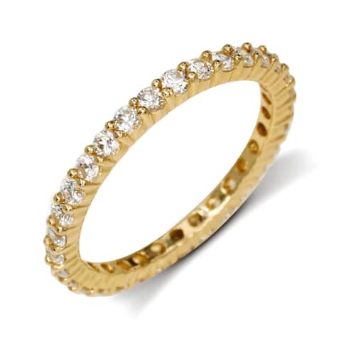 Curata Solid 14k Yellow Gold Cubic Zirconia Stackable Eternity Wedding Band Ring (sizes 5-9)