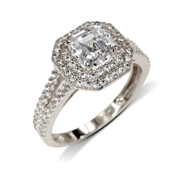 1.0 Ct Engagement Ring 925 Sterling Silver Jewelry Asscher Halo Art Deco Jewelry