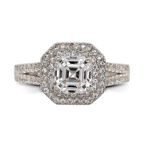 Curata Solid 14k White Gold Asscher-cut Cubic Zirconia Double Halo Bridal Engagement Ring (sizes 5-9)