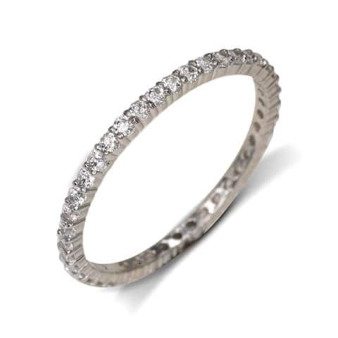 Curata Solid 14k White Gold Cubic Zirconia Stackable Eternity Wedding Band Ring (sizes 5-9)