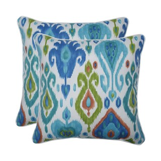 Pillow Perfect Outdoor / Indoor Paso Caribe Blue 18.5-inch Throw Pillow (Set of 2)