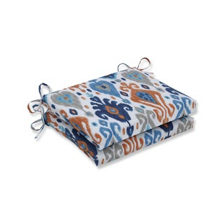 Pillow Perfect Outdoor / Indoor Paso Azure Blue Squared Corners Seat Cushion (Set of 2)
