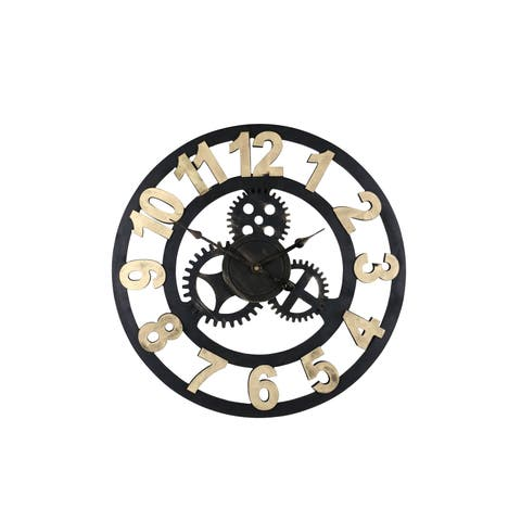 "Round Spinning Gears Circular 19"" Steampunk Style Wall Clock Dark Brown Home Decor"
