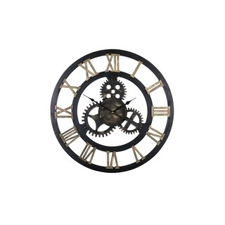 "Round Spinning Gears Circular 23"" LARGE Wall Clock With Roman Numerals Steampunk Style Wall Clock Dark Brown Home Decor"