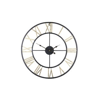 """Round Wall Metal Clock 24"""" With Roman Numerals LARGE Home Or Office Decor"""
