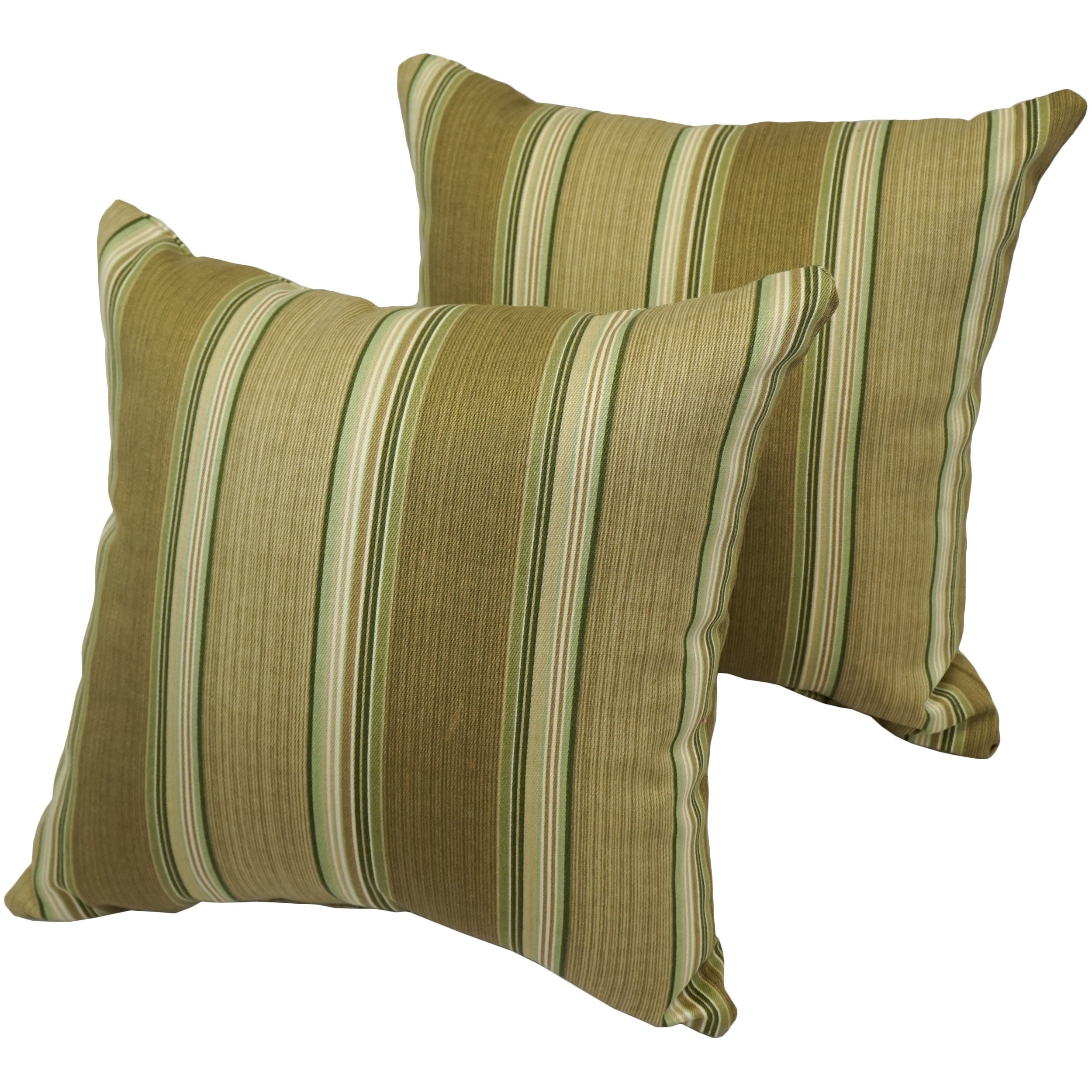 Olive Stripe 17-inch Indoor/Outdoor Throw Pillow (Set of 4) (Throw Pillow - Modern & Contemporary - Striped)