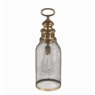 Privilege large gold pierced LED lantern. Featuring Switch located inside openable lid, utilizes 2 AA Batteries, 5.5x5.5x17.