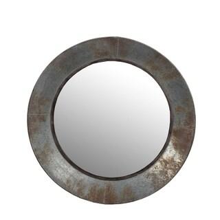 Privilege round galvinized medium mirror. Featuring Keyhole mount, 23.5x3x23.5 Mirror: 16.5.
