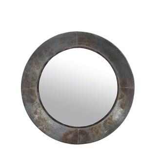 Privilege galvanized small round mirror. Featuring Keyhole mount, 17.5x3x17.5 Mirror: 11.