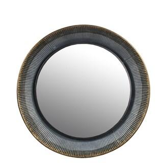 Privilege large aluminum round mirror. Featuring Keyhole mount, 24.5x3.5x24.5 Mirror: 17.75.