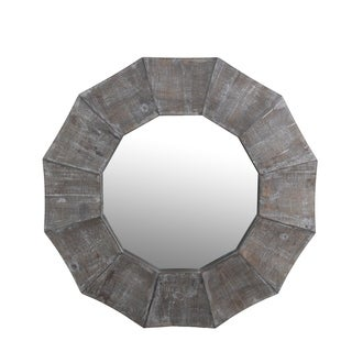 Privilege scalloped edge reclaimed mirror. Hangs with wire loop, 35.5x2.5x35.5, Mirror: 21.