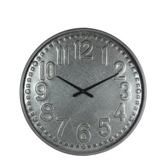 Privilege round galvanized wall clock. Featuring AA Battery (not included), 31.5x2.5x31.5.
