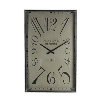 Privilege square galvanized wall clock. Featuring AA Battery (not included), 19x2.5x30.5.