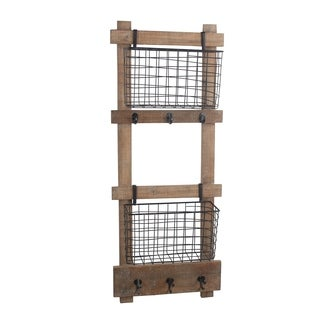 Privilege wood and metal decorative wall organizer . Featuring Two storage bins, 15.5x6.5x38.5.