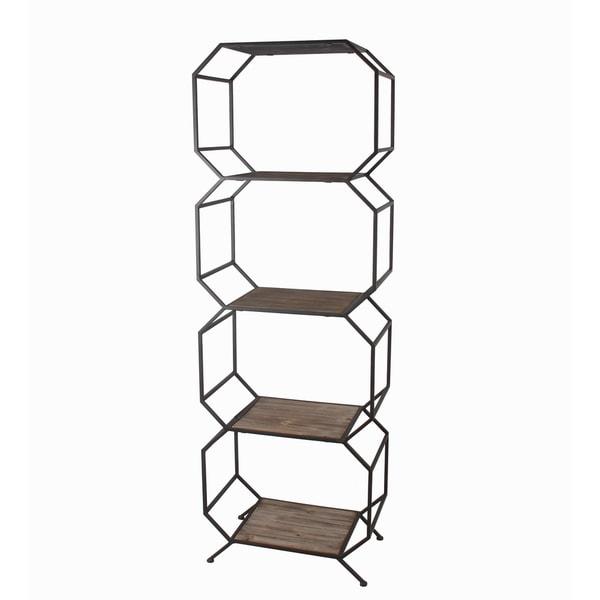 Privilege brown metal 5 tier shelf unit. Featuring 5 Wood top tiers, 20x12x61.