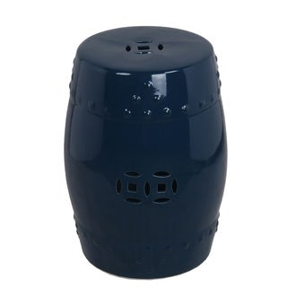 Privilege dark blue ceramic garden stool. Featuring Holds up to 250 lbs, 13x13x18.