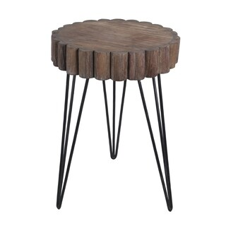 Privilege wood & iron accent stand. Featuring 3 legged design, 18x18x26.