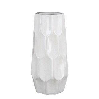 Privilege white large ceramic vase. Featuring Geometric design, 7x7x14.5.