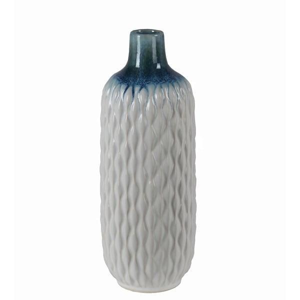 Privilege Large White Ceramic Vase Featuring Geometric Design 55