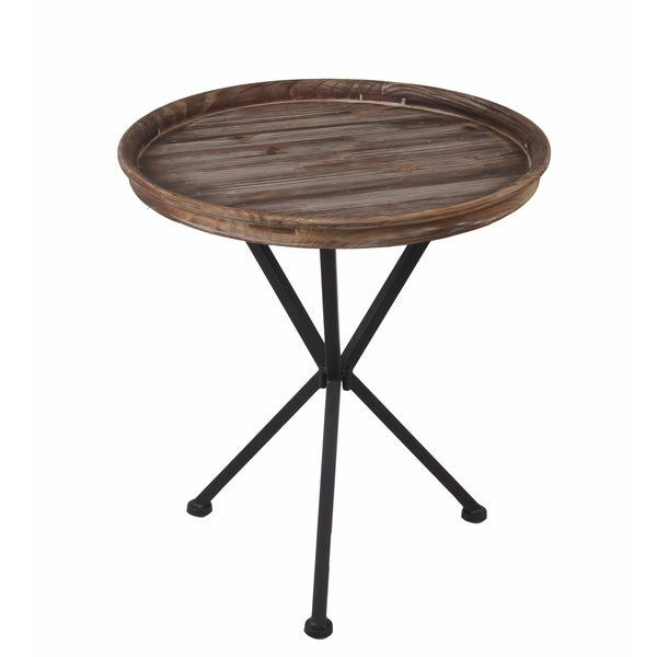 Privilege round accent table. Featuring Wood tray top, 19x19x22.