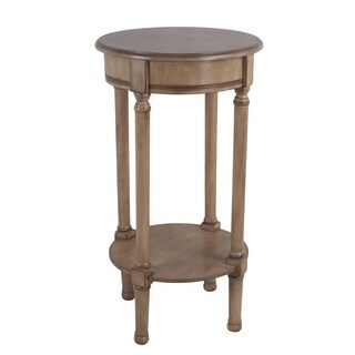 Privilege Sahara Tan Wood Easy-to-assemble Transitional Round Accent Table