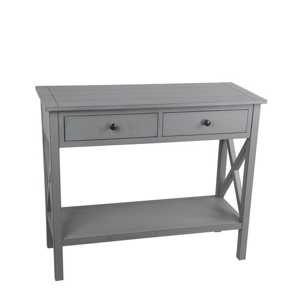 Privilege vendee gray 2 drawer console table. Featuring Easy to assemble, no tools required, 36x14x29.5.