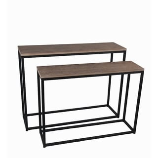 Privilege natural 2 piece accent console set. Featuring Pair of metal console tables, 39.5x12x31, 35.5x10x27.