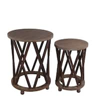 Privilege wood 2 piece accent stand set. Featuring Solid woiod construction, 21x21x27.5, 16x16x24.