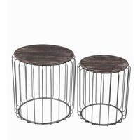 Privilege natural metal 2 piece accent table set. Featuring Galvinized aluminum body, 19.5x19.5x20.5, 19.5x19.5x20.