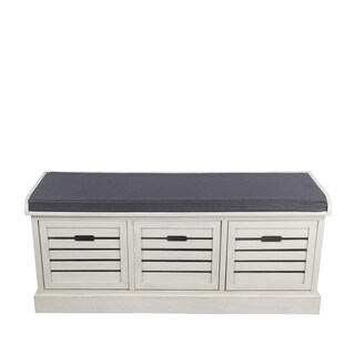 Privilege antique pearl 3 drawer bench. Featuring 3 drawers and 3 baskets, 47.5x16x20.